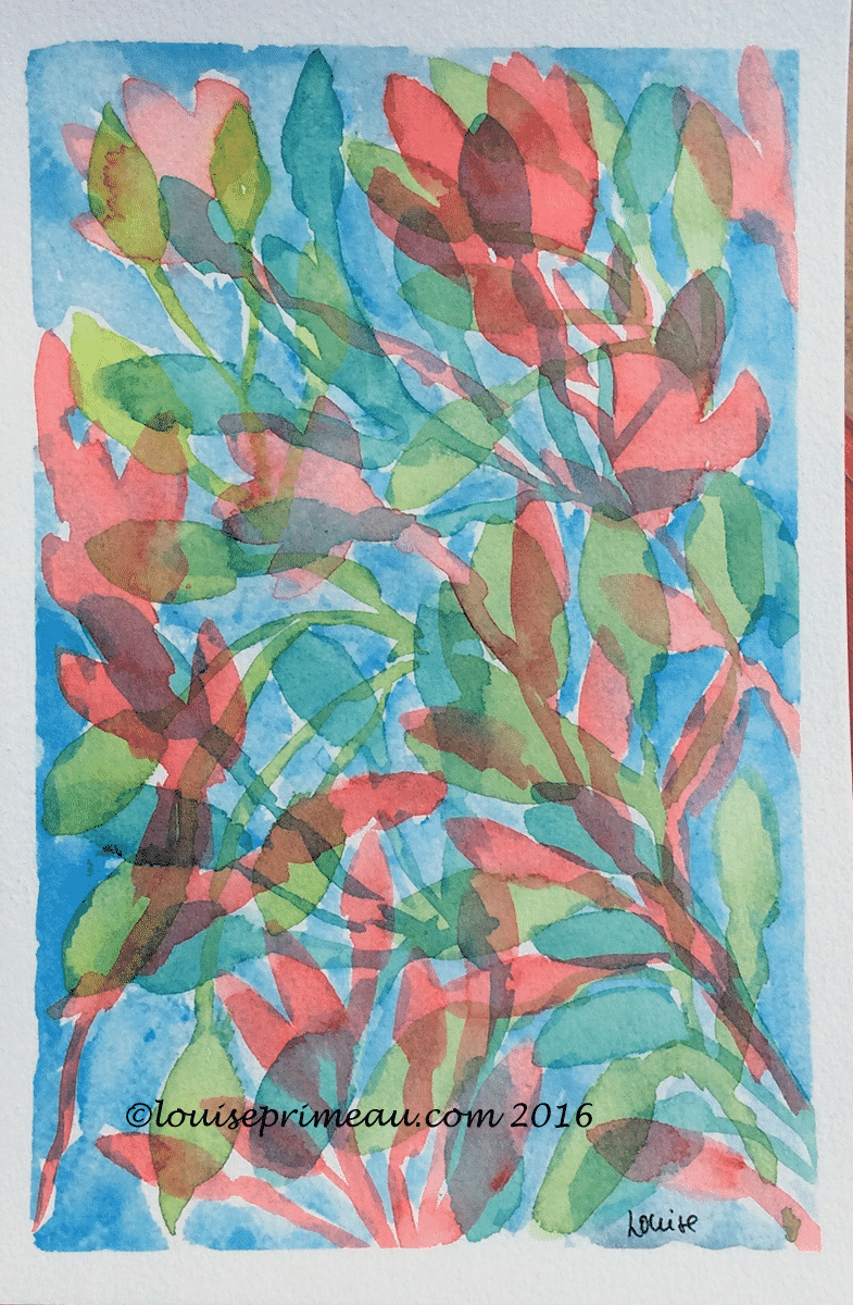 doodling superimposed leaves in watercolour