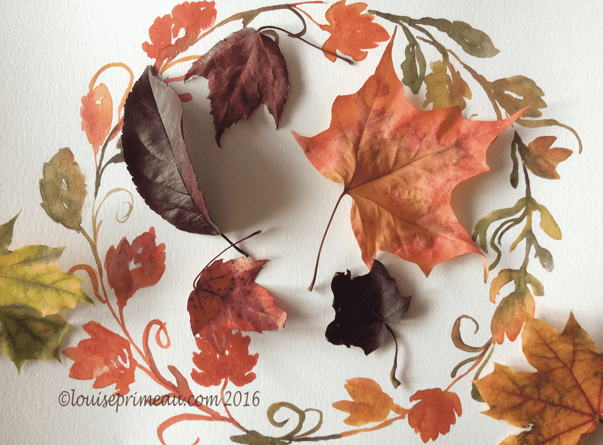 watercolour wreath with leaves
