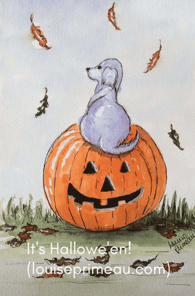 halloween pumpkin and dog illustration