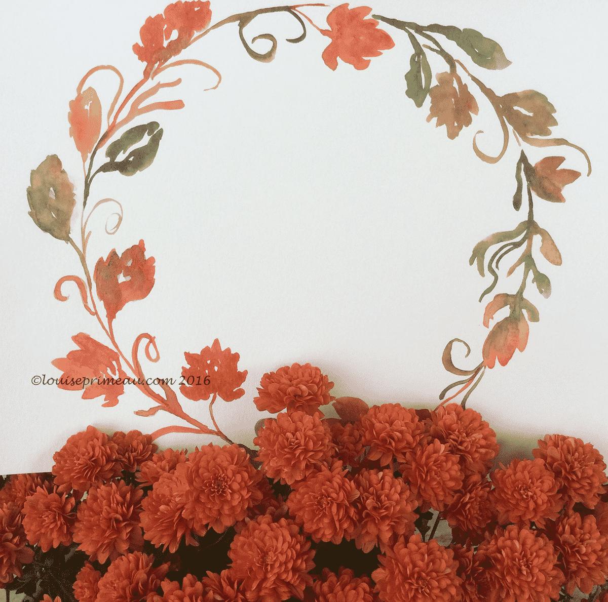 watercolour wreath for fall
