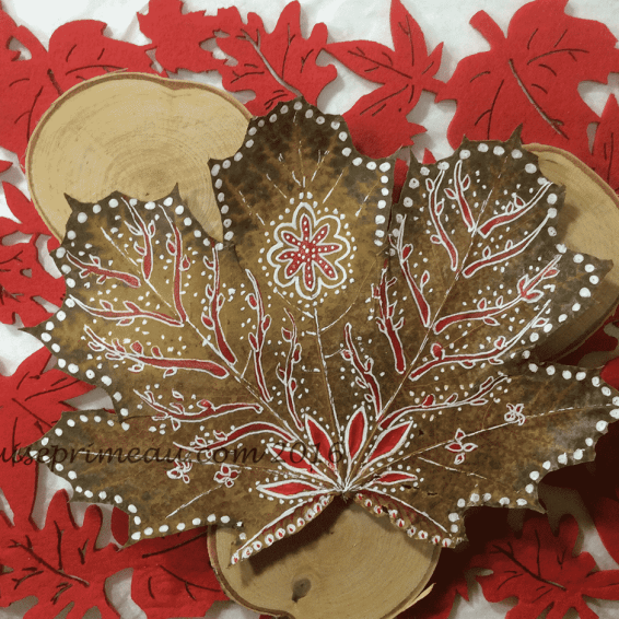 painted maple leaf in red and white