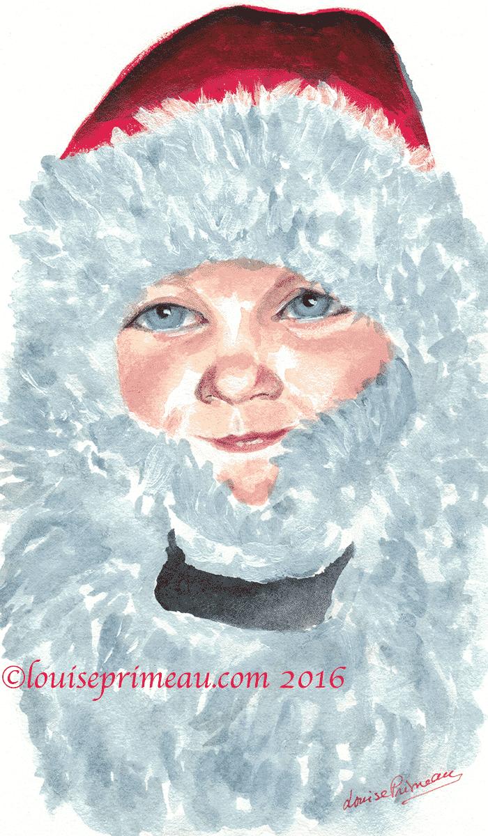 Santa's shy helper watercolour