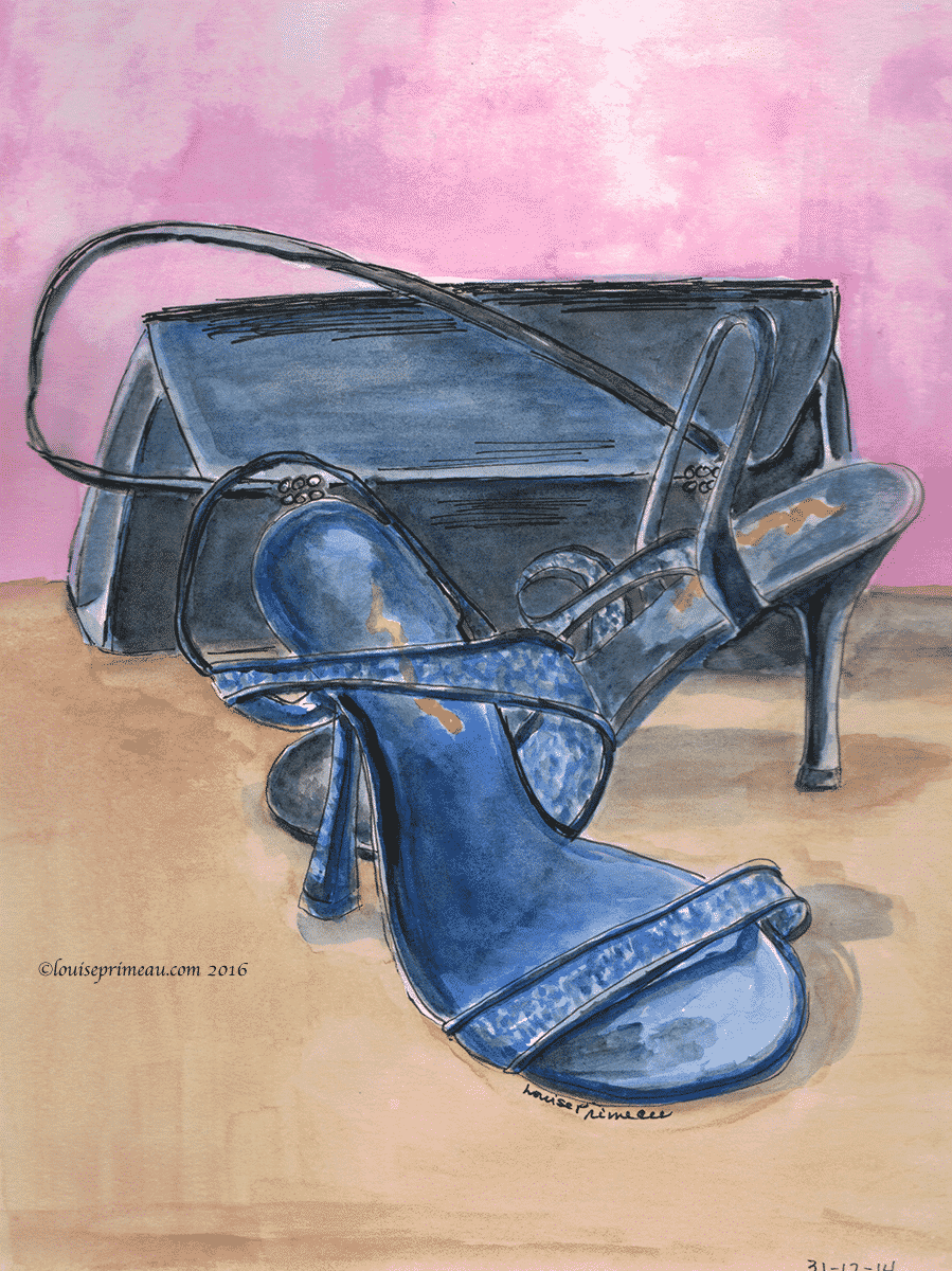 journal entry watercolour party shoes