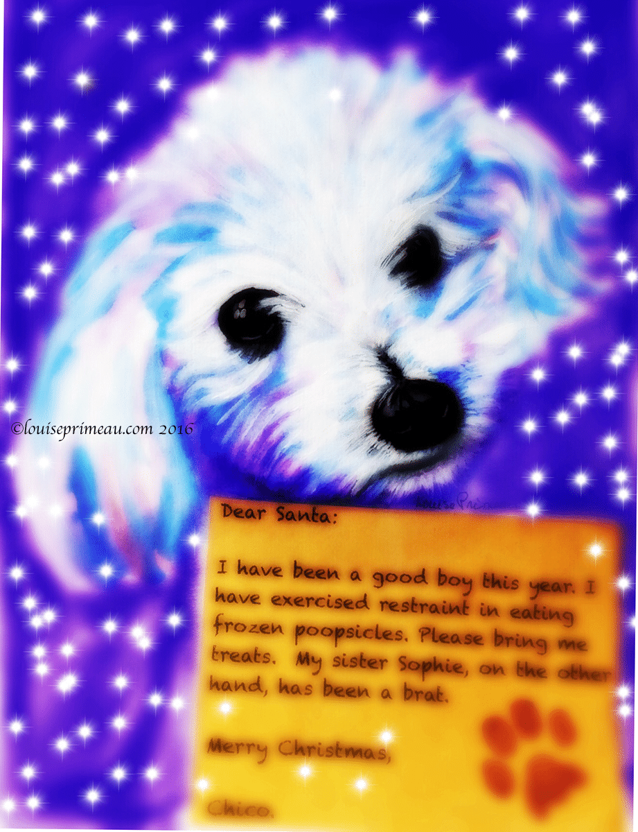 digitally reworked dog with letter to Santa