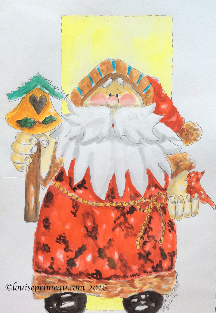 santa loves birds watercolour sketch