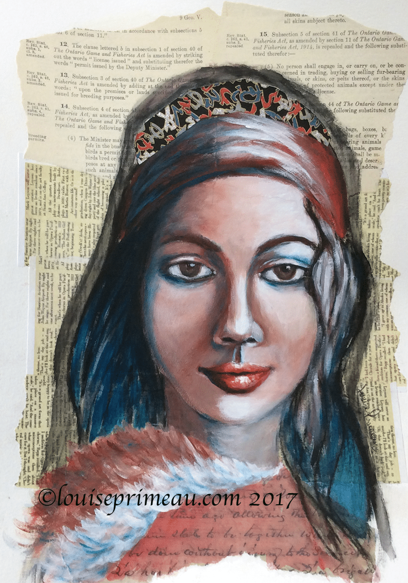She's a little red with a touch of blue - mixed media portrait