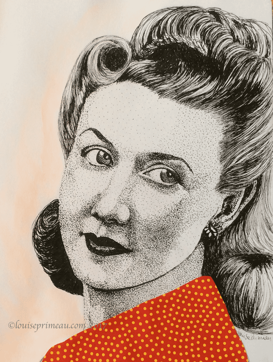 Vintage woman with victory rolls - pointillism and collage