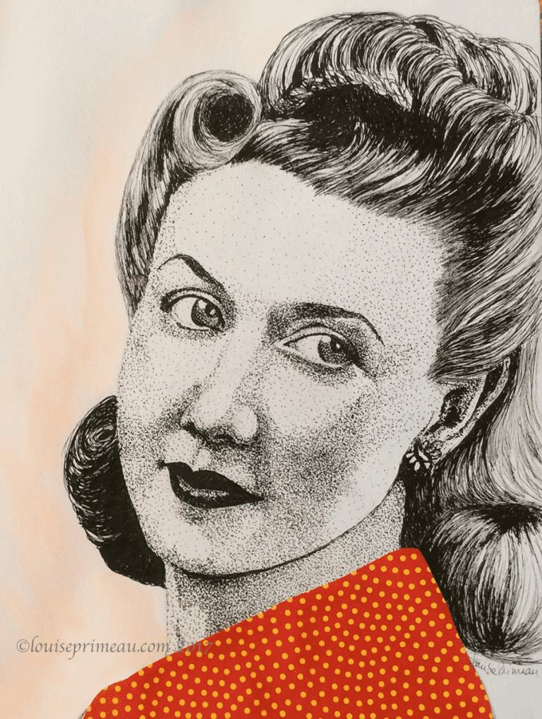 Vintage Portrait - pointillism and victory rolls