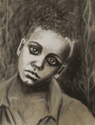 charcoal and mixed media portrait