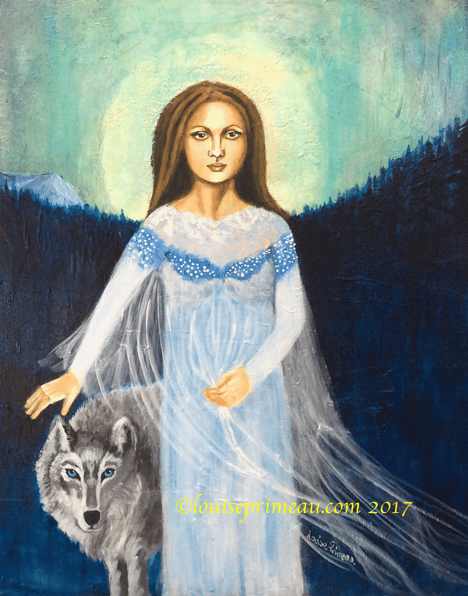 acrylic painting She walks with wolves
