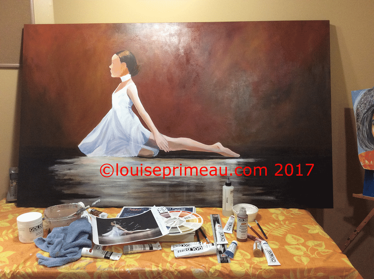 the background on acrylic painting of ballerina