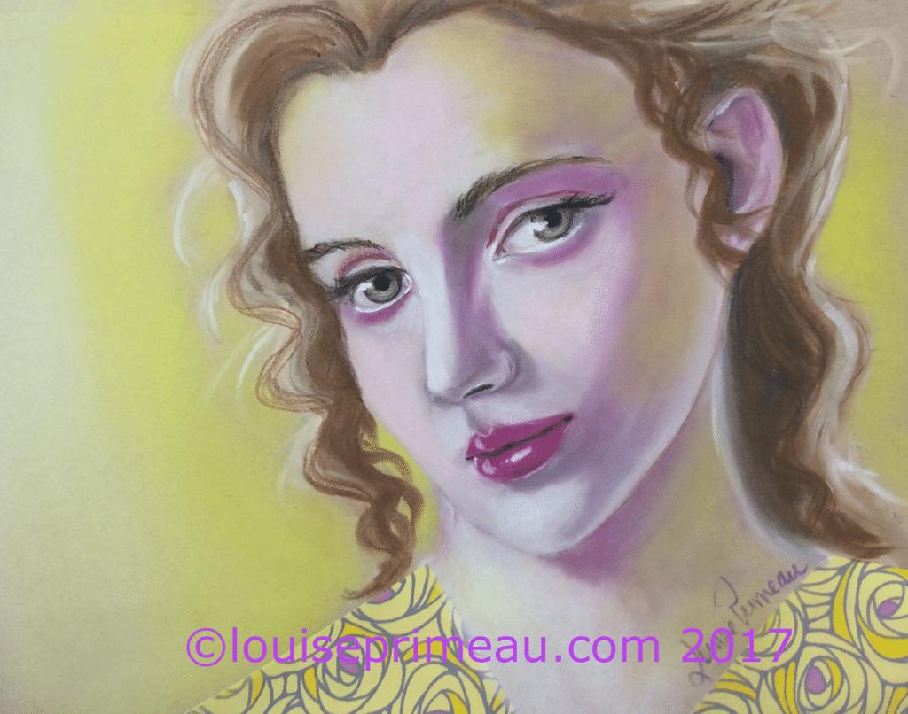 pastel portrait in yellows