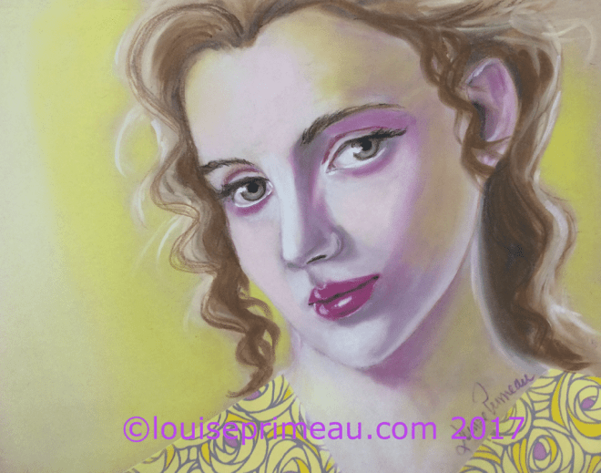 pastel portrait in yellows