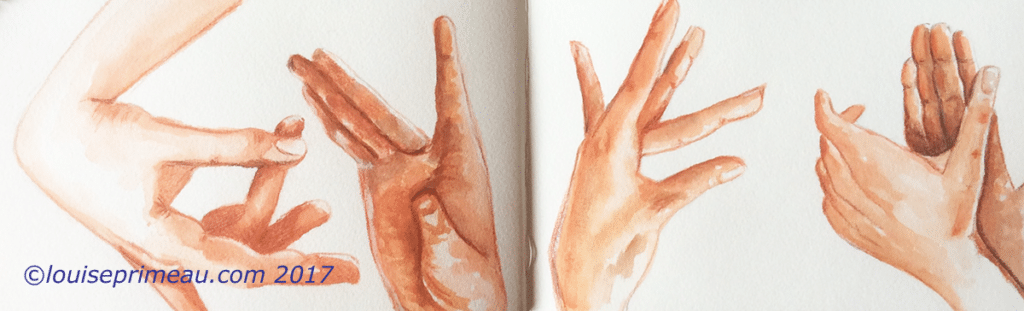 watercolour and coloured pencil sketches of flamenco hand gestures