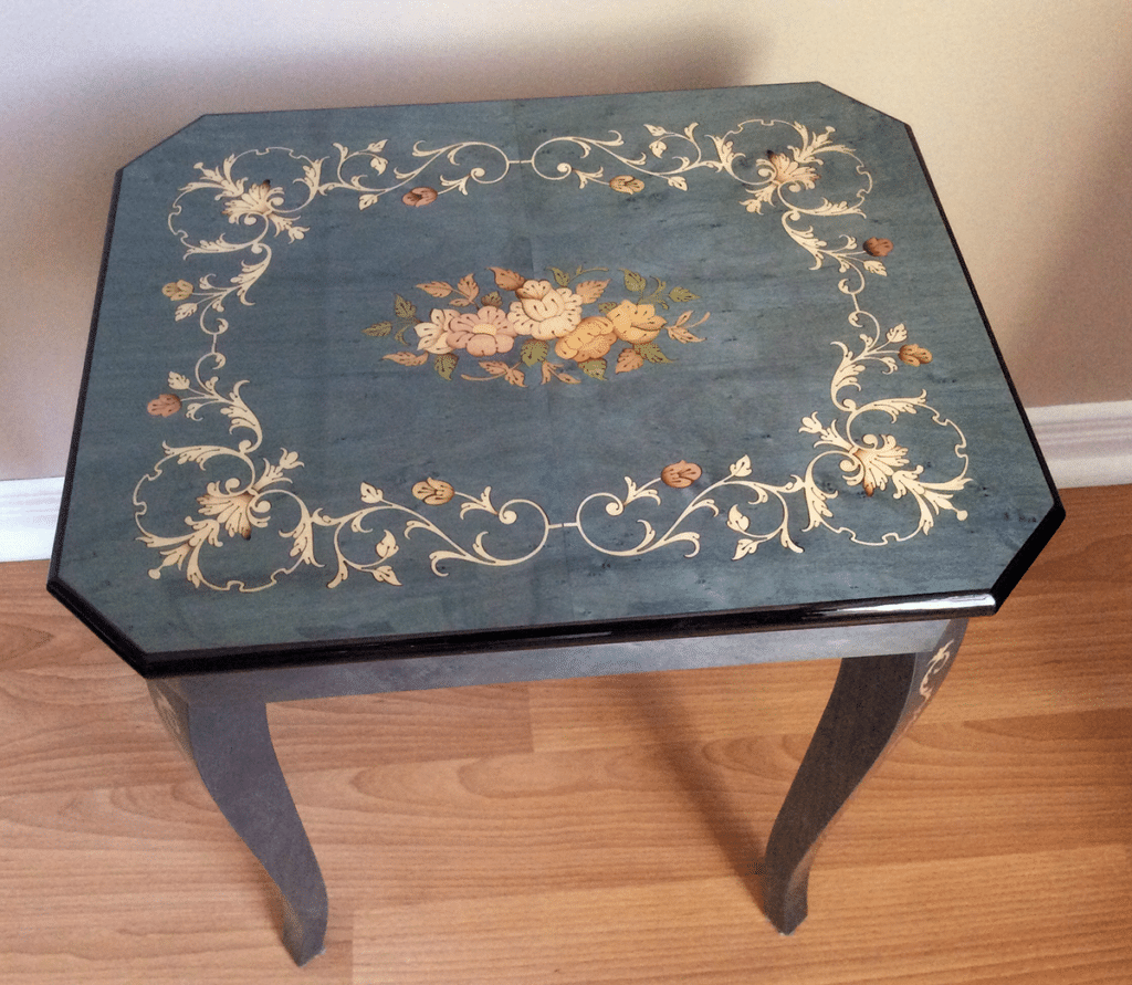 inlaid wood musical table from Sorrento