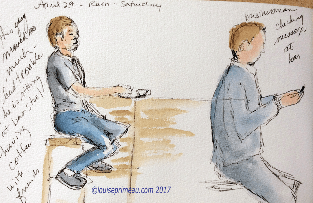 on the spot sketch - at the bar