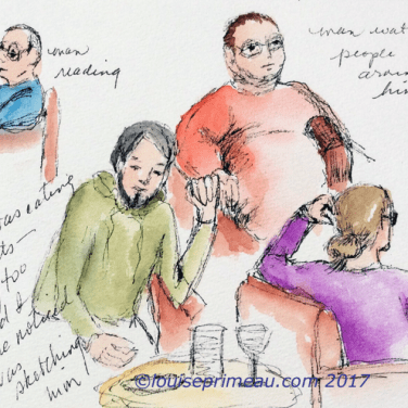 quick sketches of people in journal