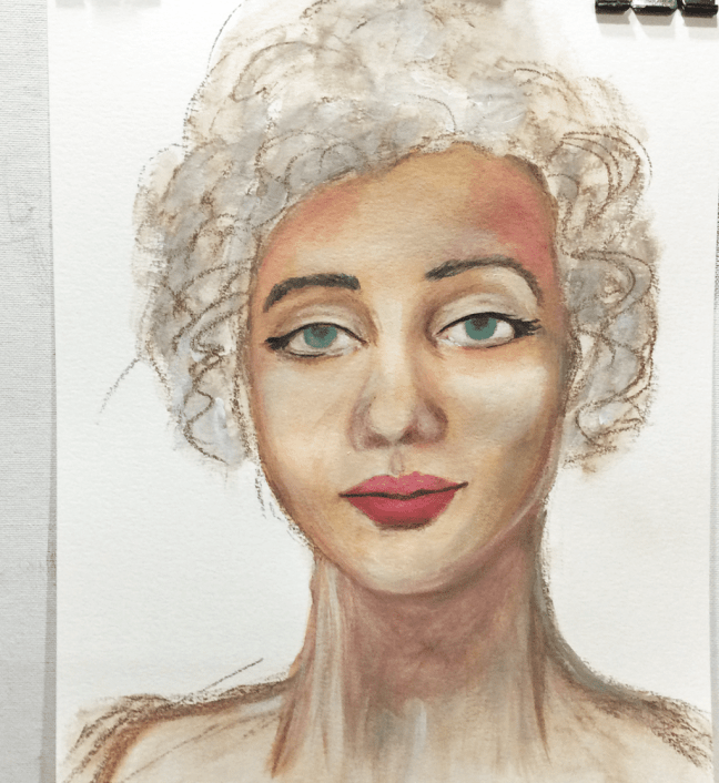 portrait painting - added colours to initial sketch with Neocolors II