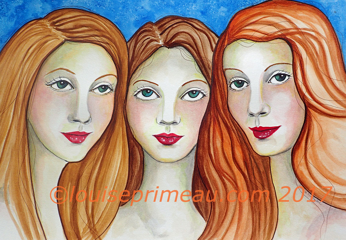 Watercolour and ink painting of three sisters by Louise Primeau, Artist