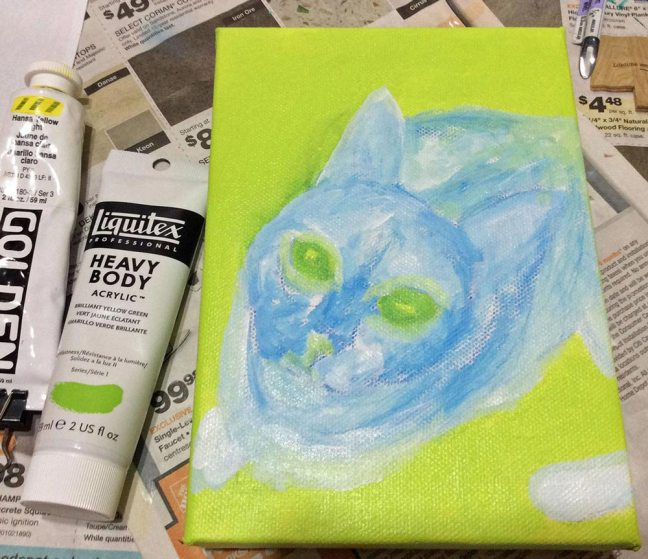 painting cat process - first step