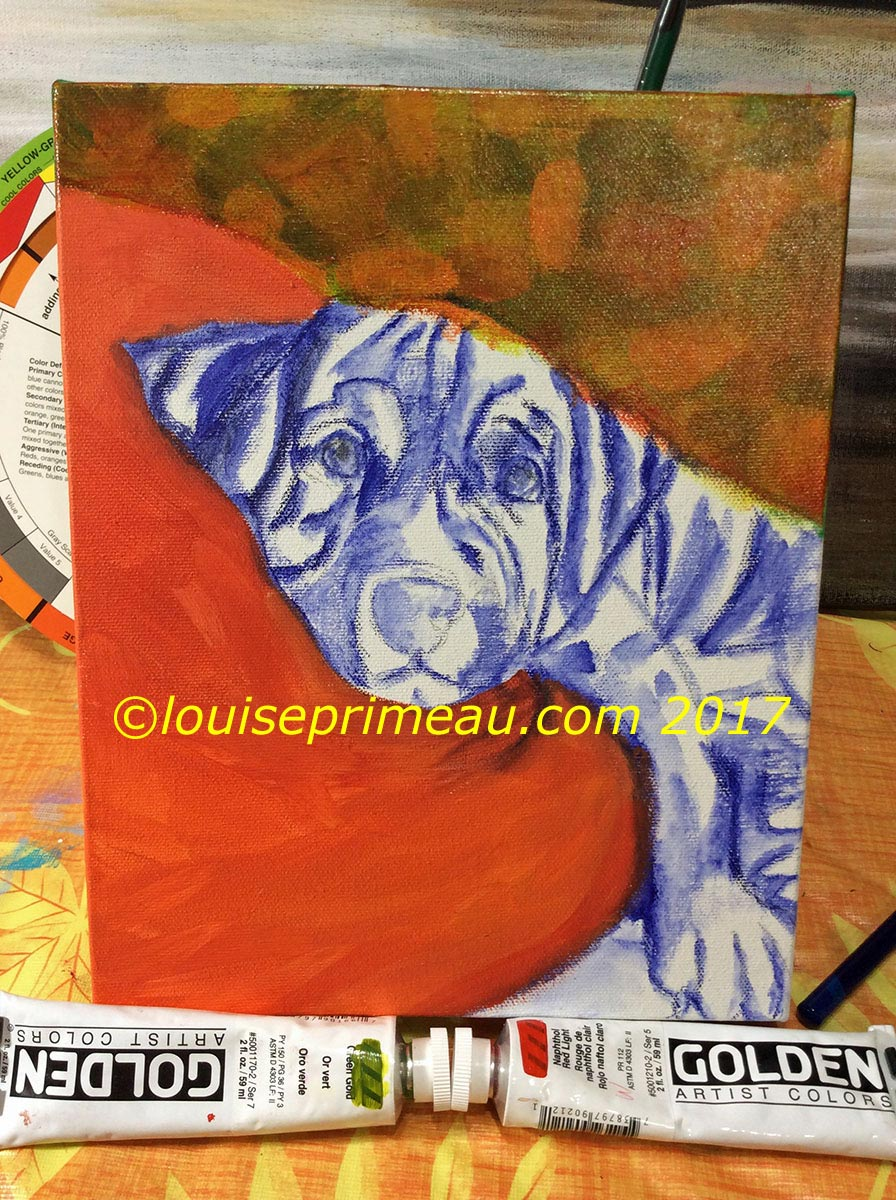 more work on background for painted puppy
