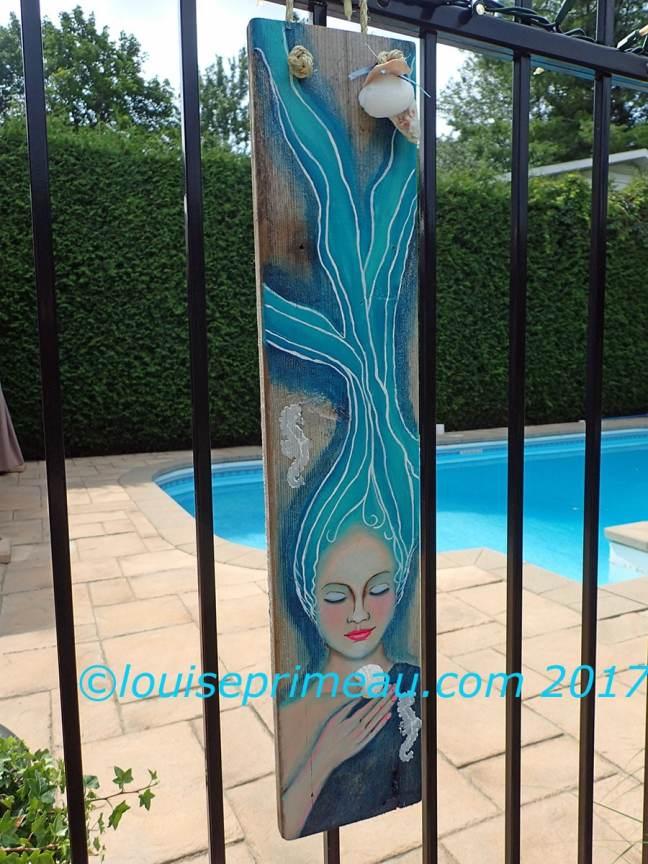 painted mermaid on reclaimed wood (cedar deck board)