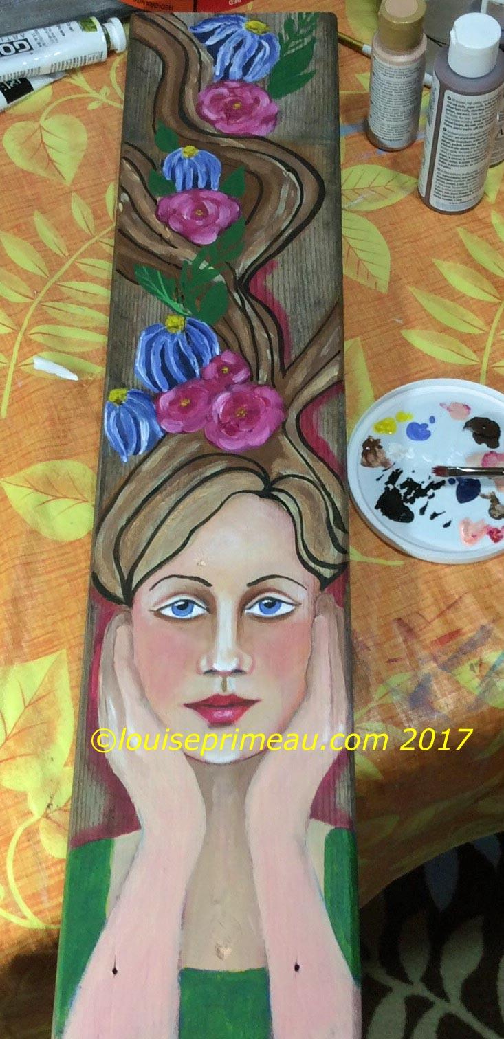 WIP - flower fairy in acrylics on reclaimed wood deck board