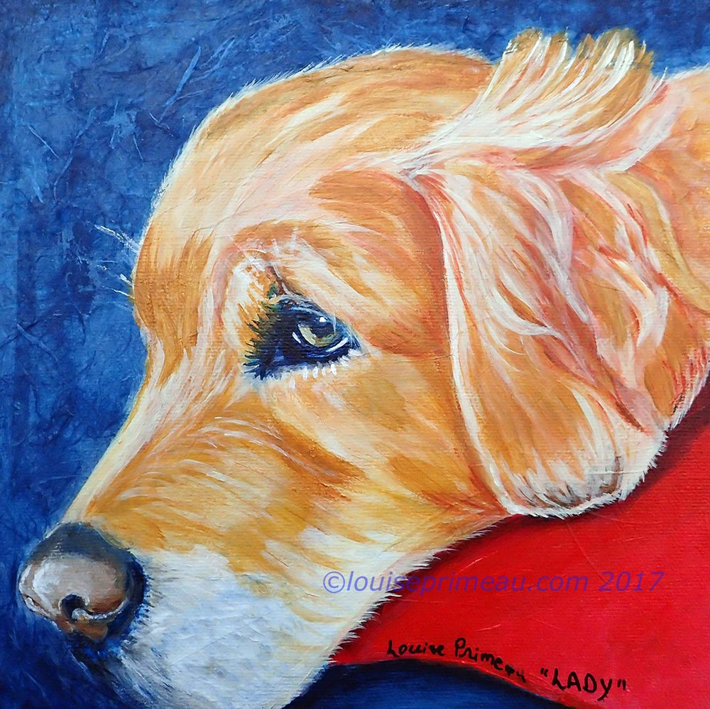 Mixed media portrait of Golden Retriever resting on red pillow