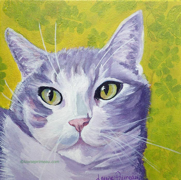 Pampered Cat Tony. Acrylic pet portrait by Ottawa artist