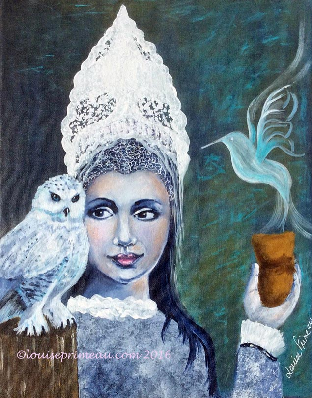 Mixed Media Ice Queen with Snowy Owl