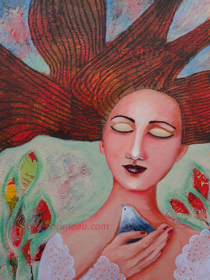 A Bird in Hand mixed media painting