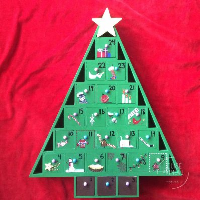 wooden hand painted advent calendar