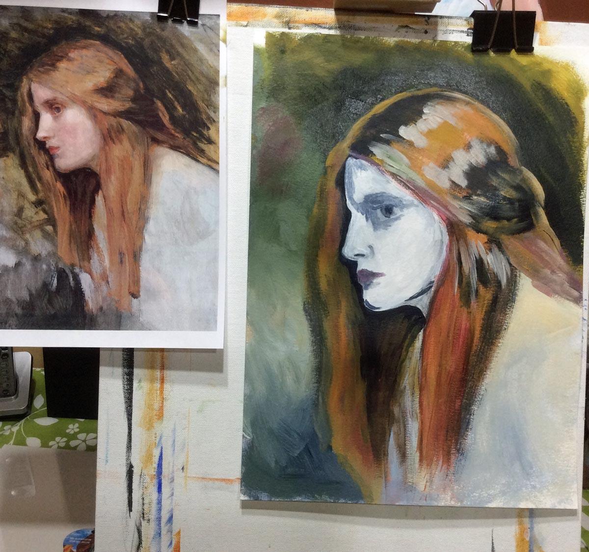 painting the hair in John William Waterhouse study