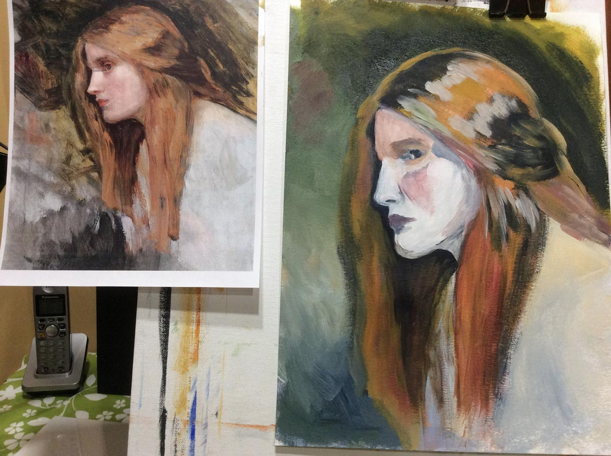 refining the face in Waterhouse study