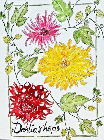 watercolour of dahlia