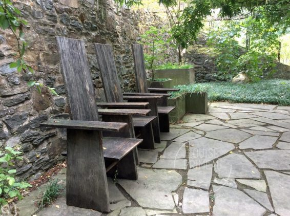 rustic chairs at Chanticleer