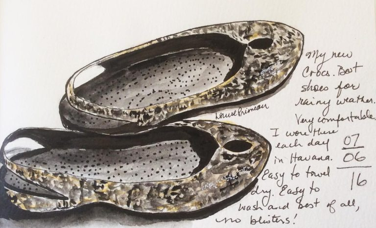 sketch of Crocs worn in Havana