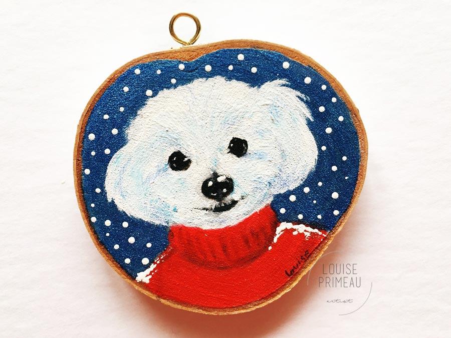 Chico -custom pet portrait on wood slice by Louise's ARTiculations, Ottawa pet portrait artist.