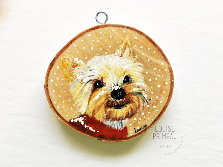 Coco - Wood slice custom pet portrait