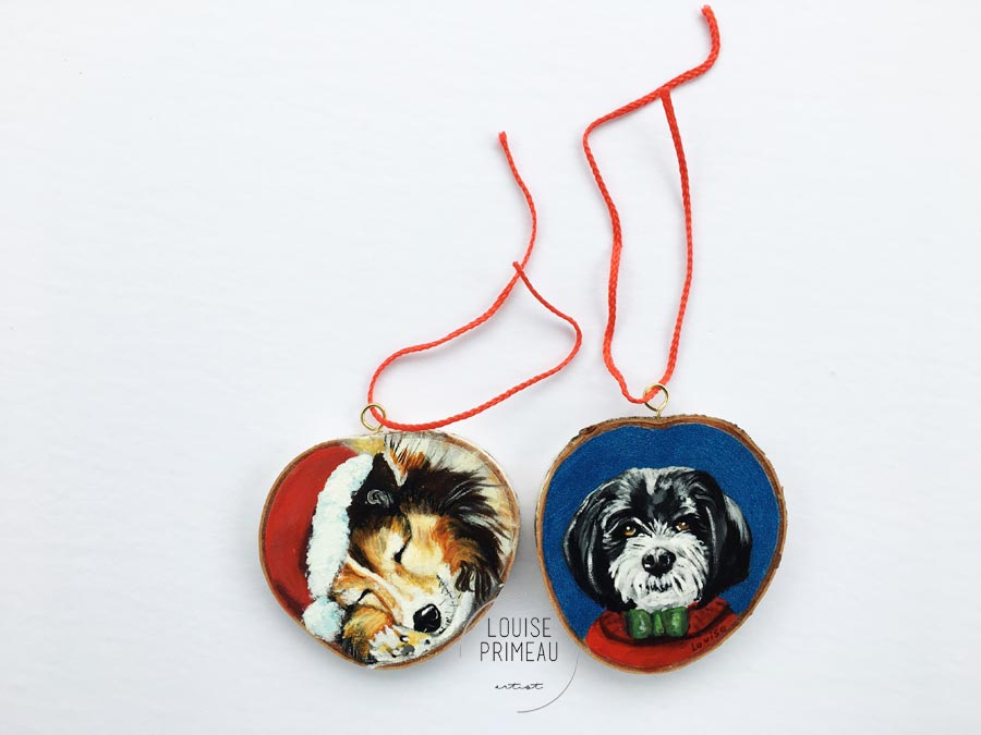Cody and Jake -custom pet portrait on wood slice by Louise's ARTiculations, Ottawa pet portrait artist.