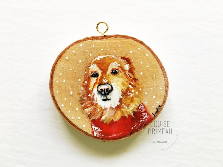 Emma -custom pet portrait on wood slice by Louise's ARTiculations, Ottawa pet portrait artist.