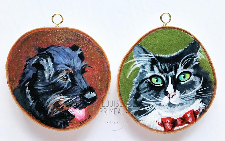 Custom pet portraits on wood slices