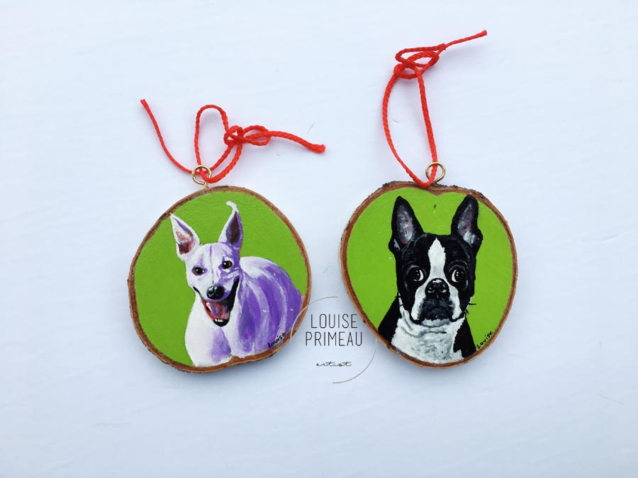 Miles and Bobby -custom pet portrait on wood slice by Louise's ARTiculations, Ottawa pet portrait artist.