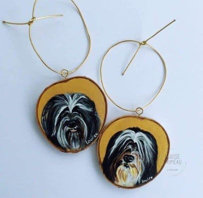 Tunga and Phlox.custom pet portrait on wood slice by Louise's ARTiculations, Ottawa pet portrait artist.