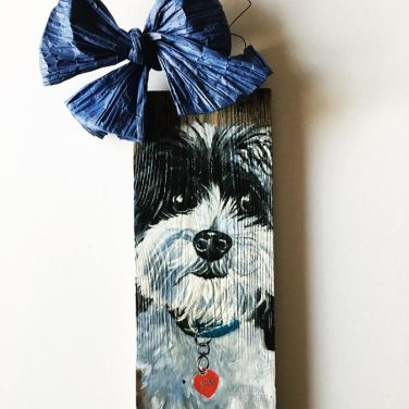 pet portrait on reclaimed wood.