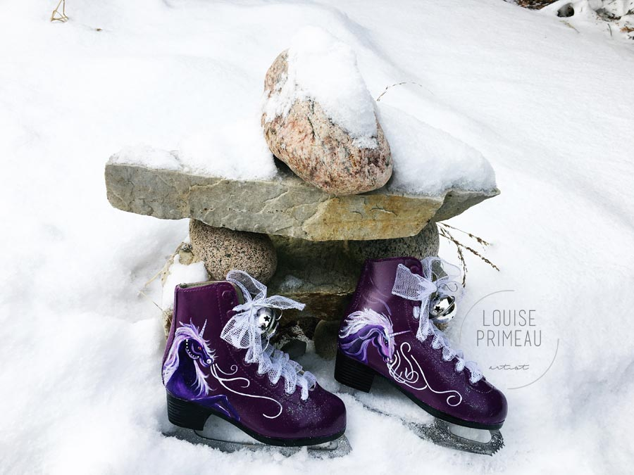 Painted skates by Ottawa artist, Louise Primeau