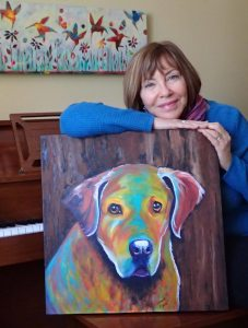 "Louise's ARTiculations, pet portrait artist with ""Storm""."