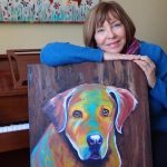 "Louise's ARTiculations, pet portrait artist with ""Storm""."