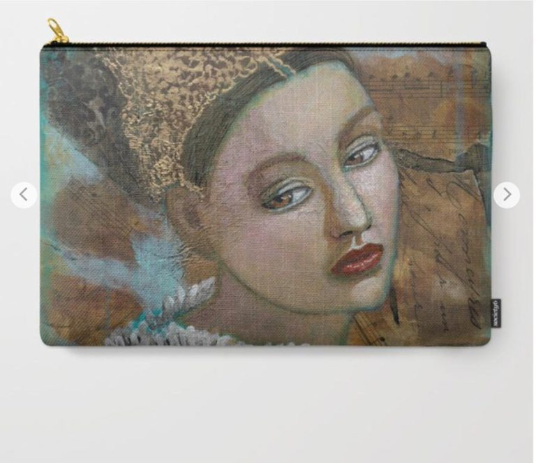 pouch with Louise's ARTiculations art available at Society6