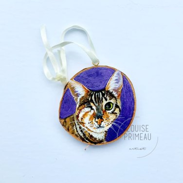 Snickers - painted cat or wood ornament by Louise Primeau